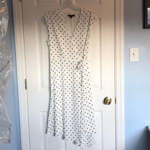 Banana Republic Asymmetrical Wrap Dress polka dot